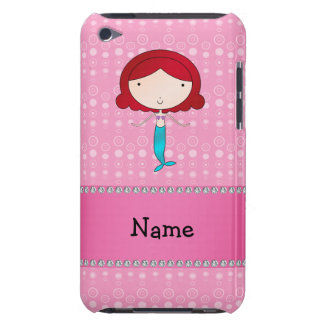 Personalized name mermaid pink bubbles iPod touch case