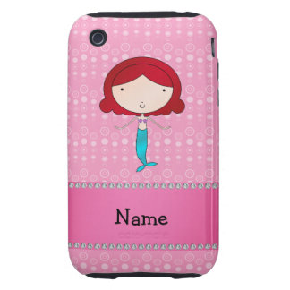 Personalized name mermaid pink bubbles tough iPhone 3 cover