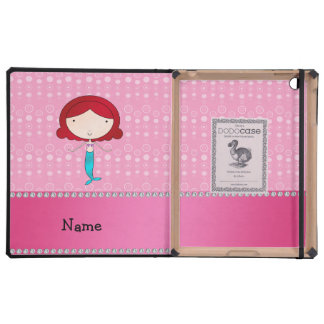 Personalized name mermaid pink bubbles covers for iPad