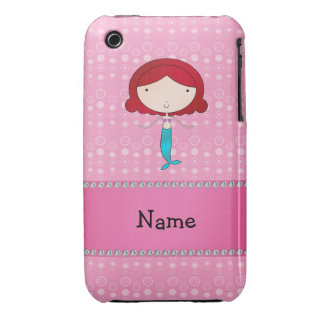 Personalized name mermaid pink bubbles iPhone 3 Case-Mate cases