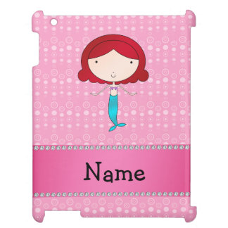 Personalized name mermaid pink bubbles cover for the iPad
