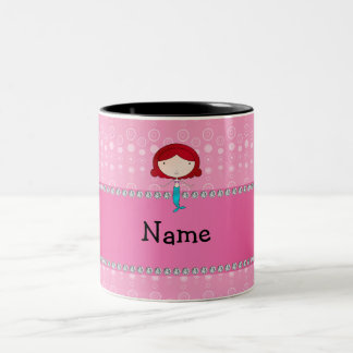 Personalized name mermaid pink bubbles mugs