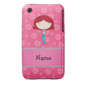 Personalized name mermaid pink flowers Case-Mate iPhone 3 case
