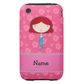 Personalized name mermaid pink flowers iPhone 3 tough covers