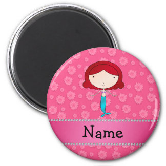 Personalized name mermaid pink flowers fridge magnet