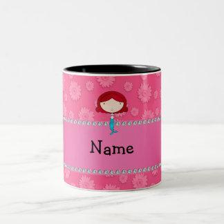 Personalized name mermaid pink flowers coffee mug