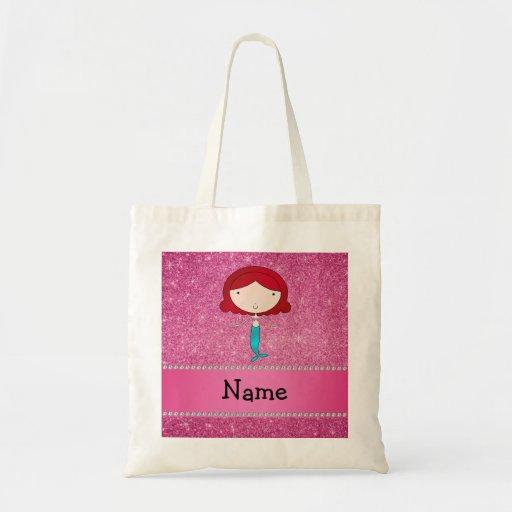 Personalized name mermaid pink glitter bag