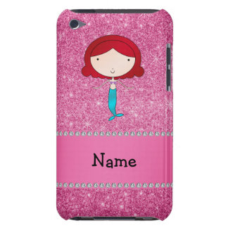 Personalized name mermaid pink glitter iPod touch cases