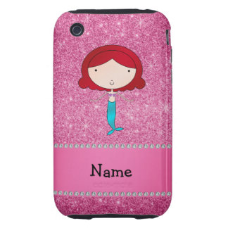 Personalized name mermaid pink glitter tough iPhone 3 cases