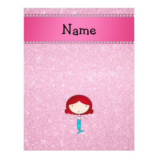 Personalized name mermaid pink glitter flyer zazzle for Personalized last name university shirts
