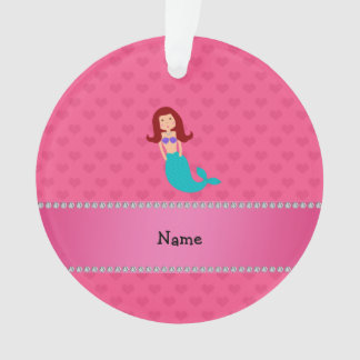 Personalized name mermaid pink hearts