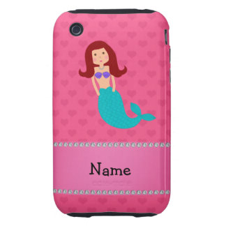 Personalized name mermaid pink hearts iPhone 3 tough cases