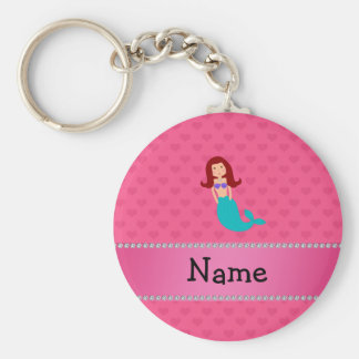 Personalized name mermaid pink hearts keychain