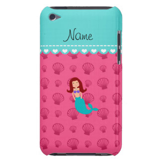 Personalized name mermaid pink shells iPod touch case