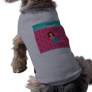 Personalized name mermaid pink shells pet t-shirt