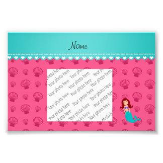 Personalized name mermaid pink shells photo print