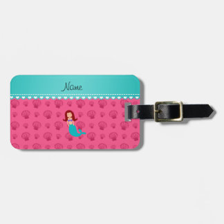 Personalized name mermaid pink shells tags for luggage