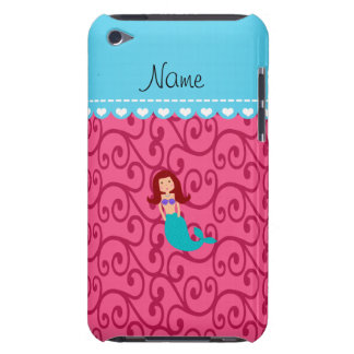 Personalized name mermaid pink swirls barely there iPod cases