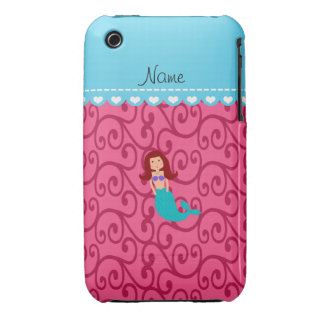 Personalized name mermaid pink swirls iPhone 3 cover