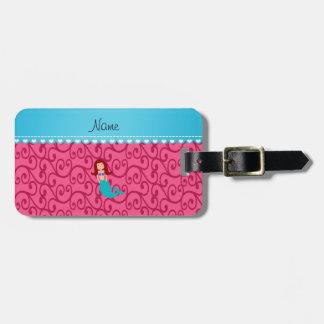 Personalized name mermaid pink swirls travel bag tag