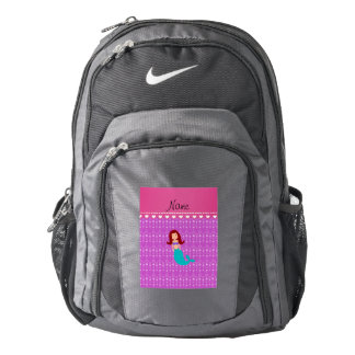 Personalized name mermaid purple bubbles backpack