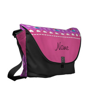 Personalized name mermaid purple bubbles messenger bags