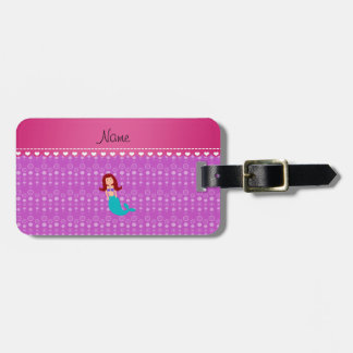 Personalized name mermaid purple bubbles tag for bags