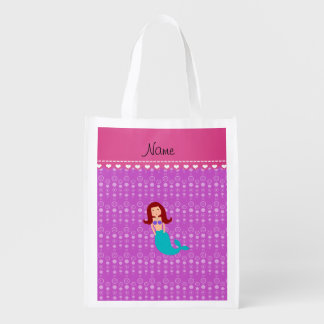 Personalized name mermaid purple bubbles grocery bags