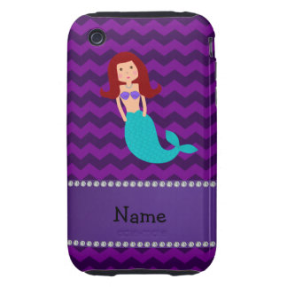 Personalized name mermaid purple chevrons iPhone 3 tough covers