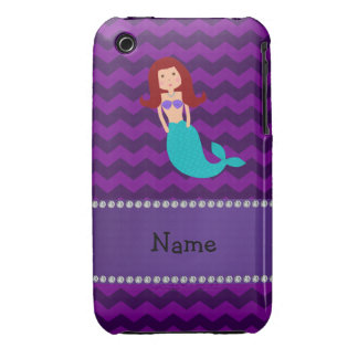 Personalized name mermaid purple chevrons iPhone 3 Case-Mate case