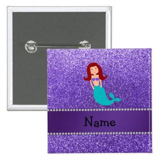 Personalized name mermaid purple glitter button