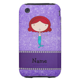 Personalized name mermaid purple glitter tough iPhone 3 covers