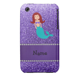 Personalized name mermaid purple glitter iPhone 3 cover