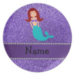 Personalized name mermaid purple glitter plate