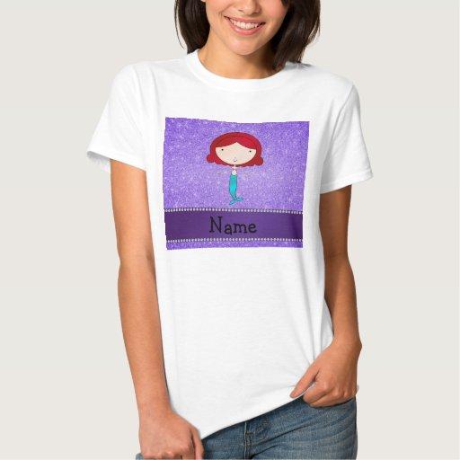 Personalized name mermaid purple glitter t-shirt T-Shirt, Hoodie, Sweatshirt