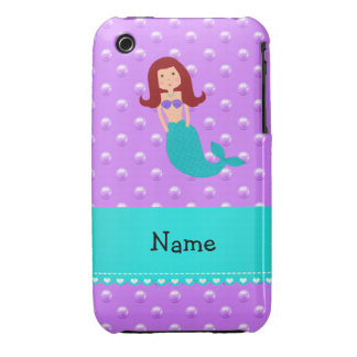 Personalized name mermaid purple pearls iPhone 3 case
