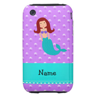 Personalized name mermaid purple pearls iPhone 3 tough covers