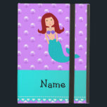 "Personalized name mermaid purple pearls iPad air cover<br><div class=""desc"">Cute mermaid gift ideas for girls/kids. Create your own custom Personalized just add name, monogram, or initials or saying on your cute cartoon red hair mermaid with a purple sea shells and a turquoise mermaids tail with a pastel purple pearls polka dots pattern background and turquoise stripe. Cute mermaid gift...</div>"