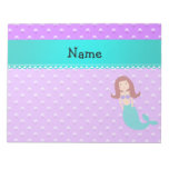 Personalized name mermaid purple pearls memo note pad