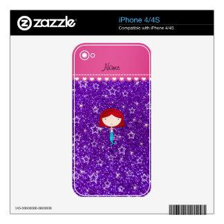 Personalized name mermaid purple stars glitter iPhone 4S skins