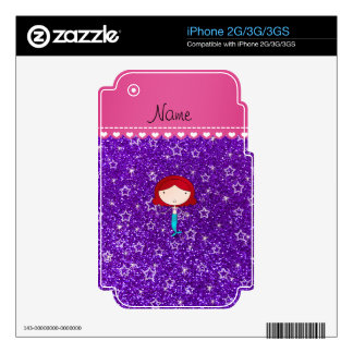 Personalized name mermaid purple stars glitter decals for iPhone 3GS