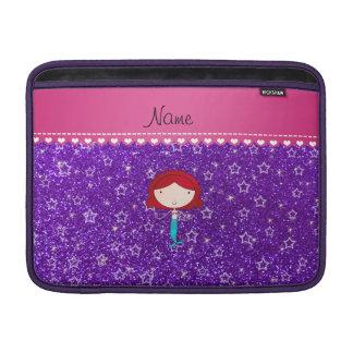 Personalized name mermaid purple stars glitter sleeve for MacBook air