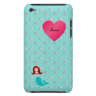 Personalized name mermaid seafoam green diamonds iPod Case-Mate case