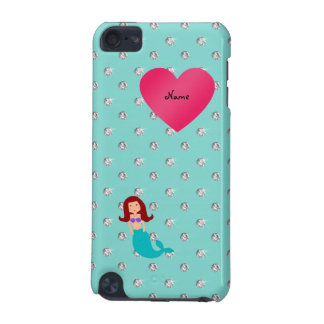 Personalized name mermaid seafoam green diamonds iPod touch (5th generation) covers