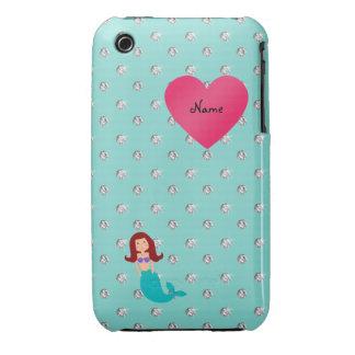 Personalized name mermaid seafoam green diamonds iPhone 3 Case-Mate case