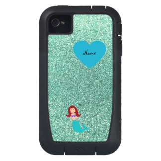 Personalized name mermaid seafoam green glitter