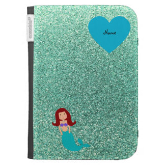 Personalized name mermaid seafoam green glitter cases for the kindle