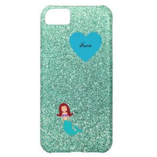 Personalized name mermaid seafoam green glitter iPhone 5C covers