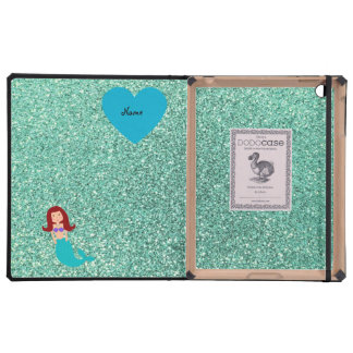 Personalized name mermaid seafoam green glitter iPad cover