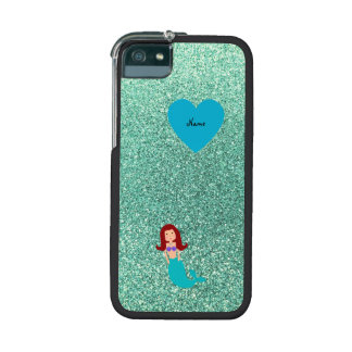 Personalized name mermaid seafoam green glitter case for iPhone 5
